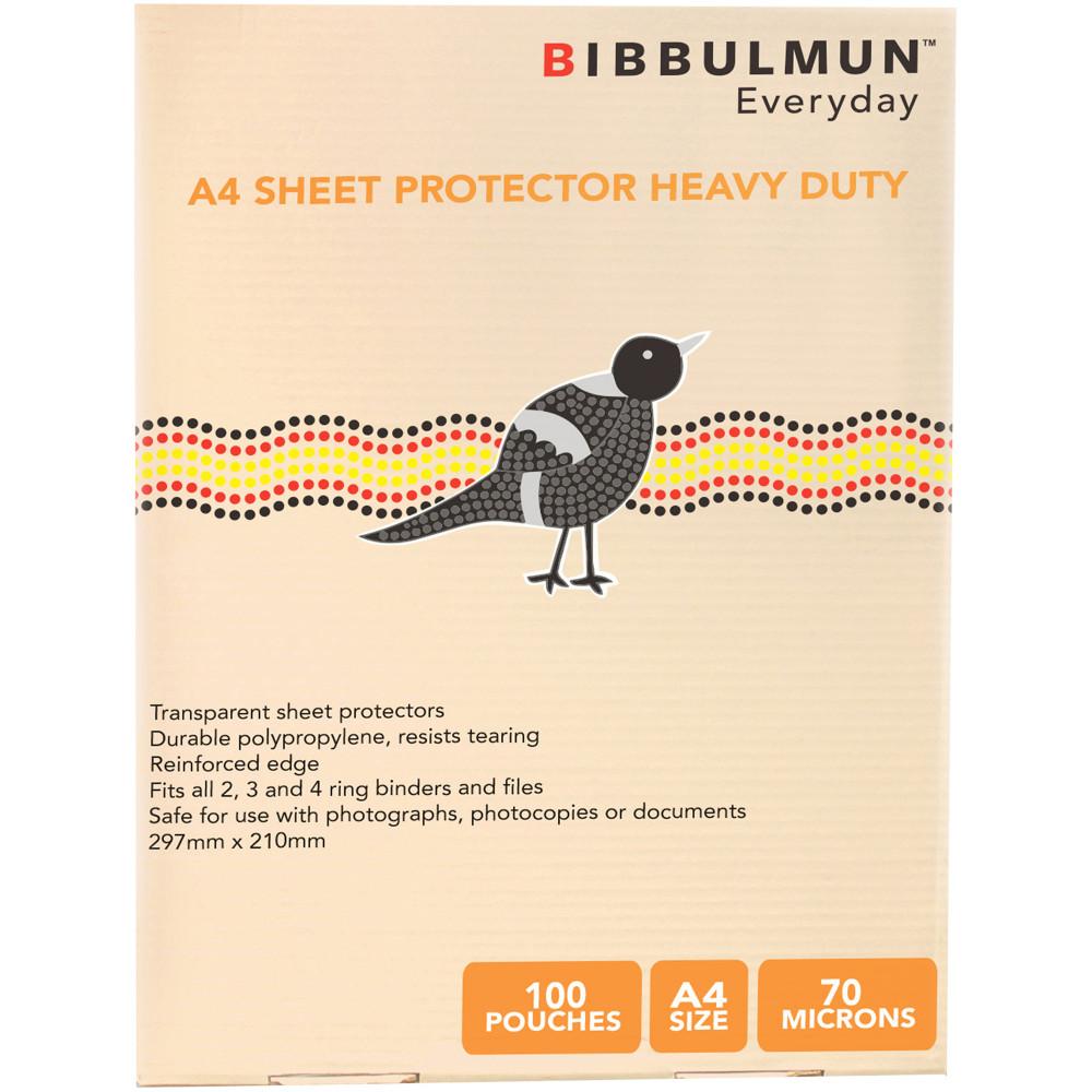 Bibbulmun Sheet Protectors A4 Heavy Duty 70 micron Pack of 100