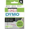 Dymo D1 Label Cassette Tape 12mmx7m Red on White