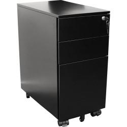 Slimline Steel Mobile Pedestal 2 Drawer 1 Filing Drawer Lock 610Hx300Wx472mmD Black