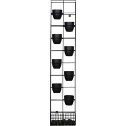 Rapid Bloom Vertical Garden 1935Hx390Wx210mmD includes 8 Pots and Polished Stones Black