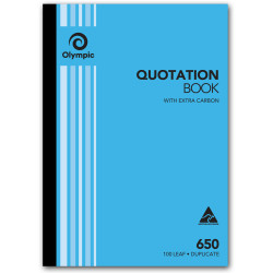 Olympic 650 Carbon Book Duplicate A4 297x210mm Quotation 100 Leaf