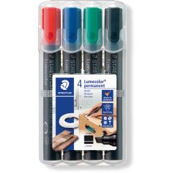 Staedtler 350 Lumocolor Permanent Marker Chisel 2-5mm Assorted Wallet of 4