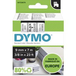 Dymo D1 Label Cassette Tape 9mmx7m Black on Clear