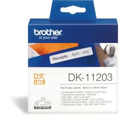 Brother DK-11203 Label Rolls 17x87mm File Folder Black on White Suits QL-Series Box 300
