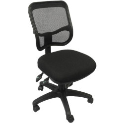 EM300 Small Seat Office Chair Black Mesh Medium Back Black Fabric Seat