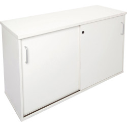 Rapid Span Melamine Credenza 730Hx1200Wx450mmD Lockable Sliding Doors All White