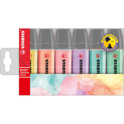 Stabilo Boss Highlighter Bullet 2-5mm Pastel Assorted Wallet Of 6